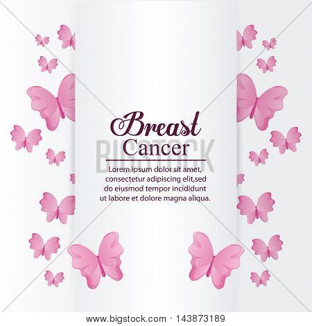 butterfly breart cancer awareness campaign foundation icon. Pink design. Vector illustration