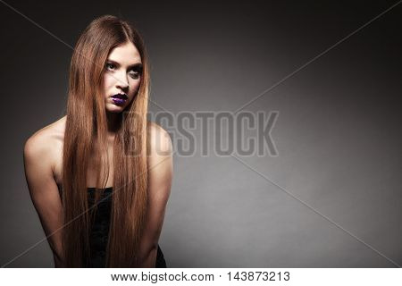 Sad Unhappy Girl Young Woman With Long Hair And Creative Makeup