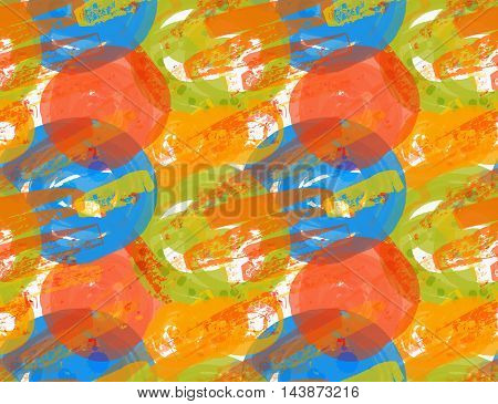 Rough Brush Blue And Orange Circles