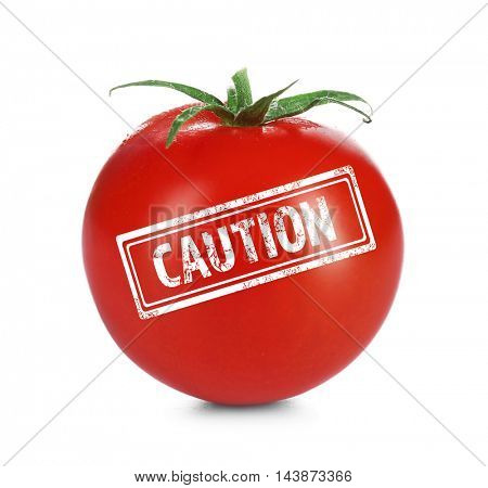 Allergy danger concept. Cherry tomato with stamp caution on white background.