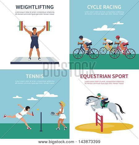 Set of illustrations on sports competition games. Vector flat style