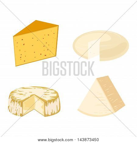 Delicious fresh cheese variety icon flat set isolated vector illustration.