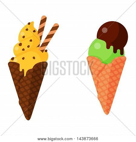 Sweet cartoon cold ice cream set vector illustration
