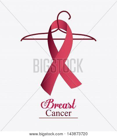 ribbon hook breart cancer awareness campaign foundation icon. Pink design. Vector illustration