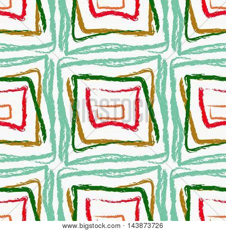 Rough Brush Green And Red Squares