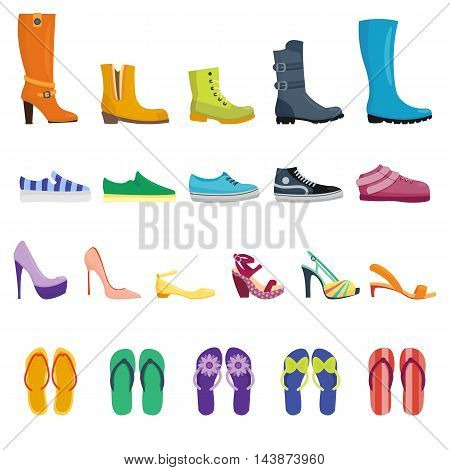 Different shoes isolated collection of various types footwear vector illustration.