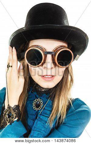 Girl Wearing Steampunk Hat.