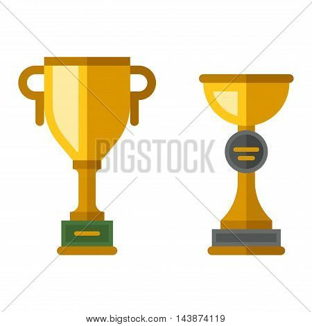 Vector trophy champion cup flat icon.