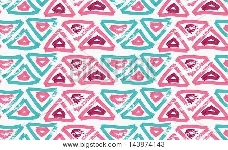 Rough Brush Pink And Green Triangles