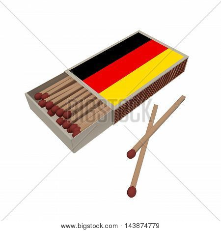 Germany Flag Matchbox With Matches Isolated On A White Background 3d illustration