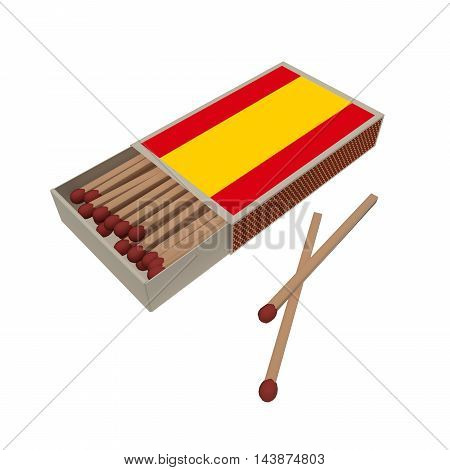 Spain Flag Matchbox With Matches Isolated On A White Background 3d illustration
