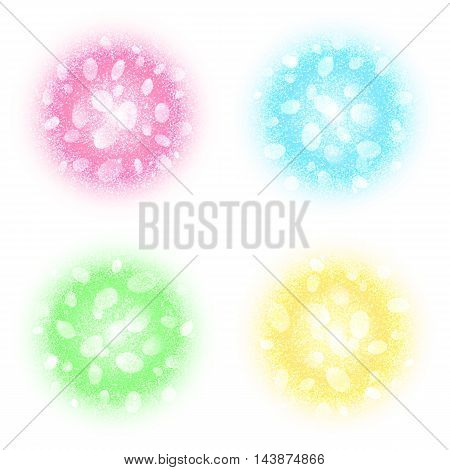 Abstract round powder clouds set with dust particles isolated on white background. Colorful circles with glow and bokeh effect. Elements for Holi, carnival banners design. Vector illustration.
