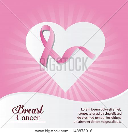 ribbon heart breart cancer awareness campaign foundation icon. Pink design. Vector illustration