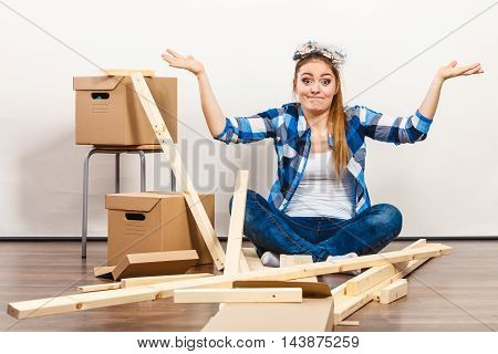 Funny Woman Moving In With Screws And Parts.