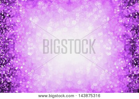 Purple glitter sparkle burst background or party invitation border for happy birthday Halloween or club