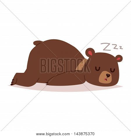 Cute cartoon bear emotions icon. Brown character happy smiling bear sleep drawing mammal teddy smile. Cheerful mascot cartoon bear grizzly, young, baby animal zoo