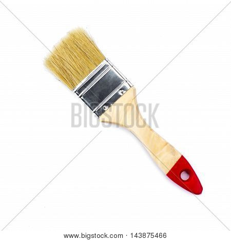 Flat paintbrush closeup detail isolated over white background