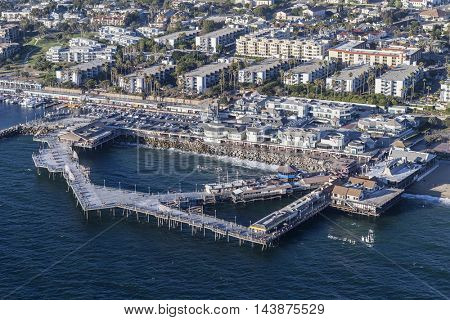 Redondo Beach, California, USA - August 16, 2016:  Aerial view of the Redondo Beach Pier and Pacific Ocean near Los Angeles.