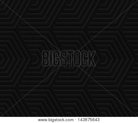Black Textured Plastic Overlapping Hexagons