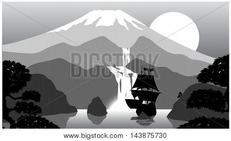 Vector scenery of evening at mountains. Illustration