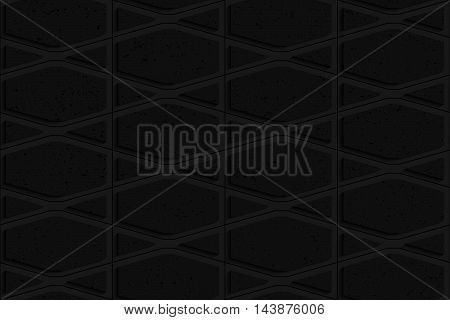 Black Textured Plastic Squished Hexagons And Triangles