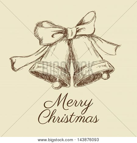 bell bowtie merry christmas decoration celebration icon. Isolated draw and sketch design. Vector illustration