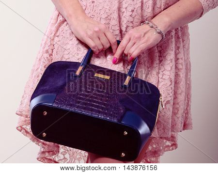 Part Body Woman In Dress With Bag.