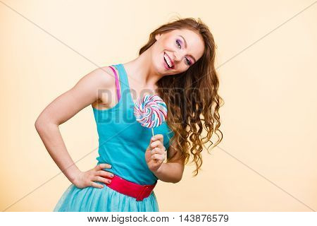 Woman Joyful Girl With Lollipop Candy