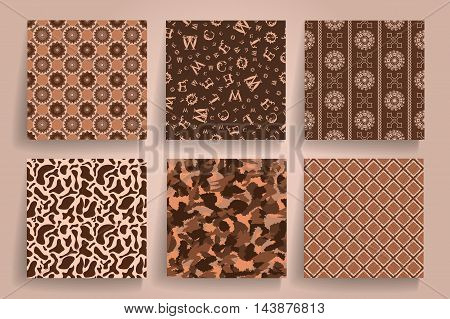 Pack Of 6 In 1 Vintage Brown Seamless Abstract Backgrounds. Use For Posters, Cards, Covers, Placards