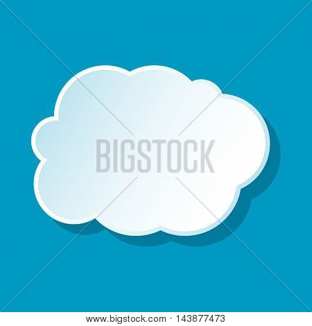 White cloud icon on blue background. Weather symbol