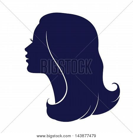 Woman face profile. Female head silhouette. Haircut hair of medium length