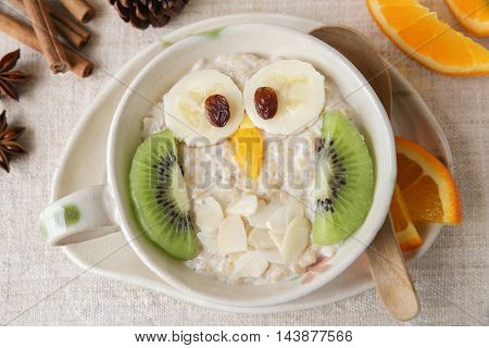 Owl Porridge Breakfast , Food Art For Kids