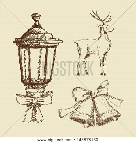 lamp reindeer deer bell bowtie merry christmas decoration celebration icon. Isolated draw and sketch design. Vector illustration