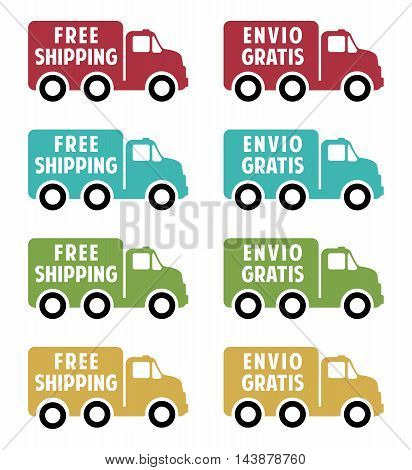 free shipping flat icons english and spanish text