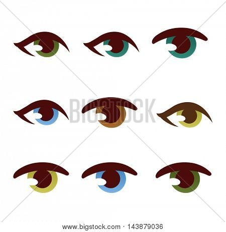 Human eye vector set.