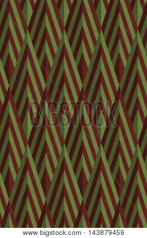 Retro Fold Green And Brown Striped Diamonds