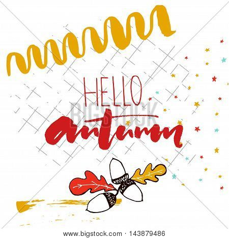 Hello autumn text handwriting on the squared notebook paper. Vector sketch acorns illustration and hand marks