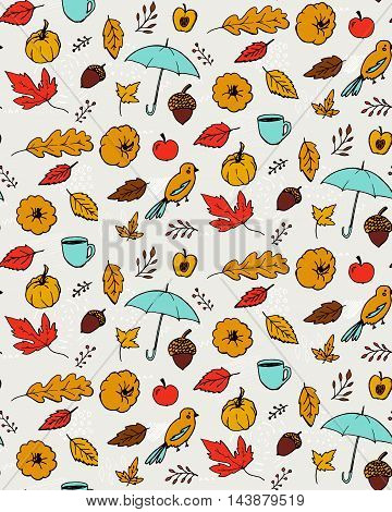 Autumn pattern. Seamless texture with hand drawn illustrations of orange leaves, open umbrella, pumpkin and acorns. Doodle vector backdrop