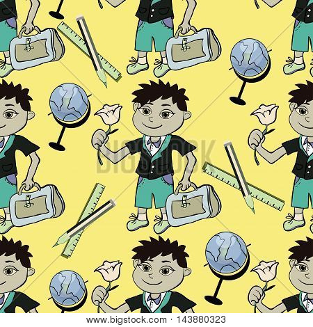 Seamless Pattern With A Student Of The First Class Of A Boy And A Globe And A Pencil. Vector Illustr