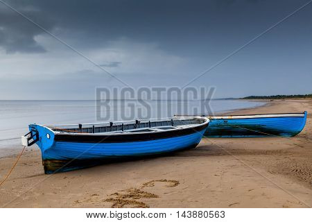 Boats at the beach on the White sea shore
