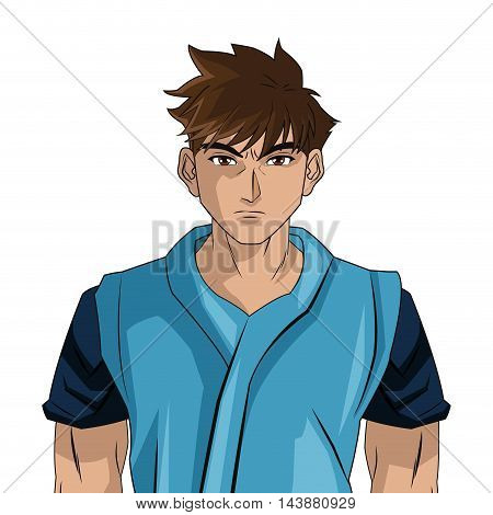 man boy young anime manga comic cartoon fight game icon. Colorful and isolated design. Vector illustration