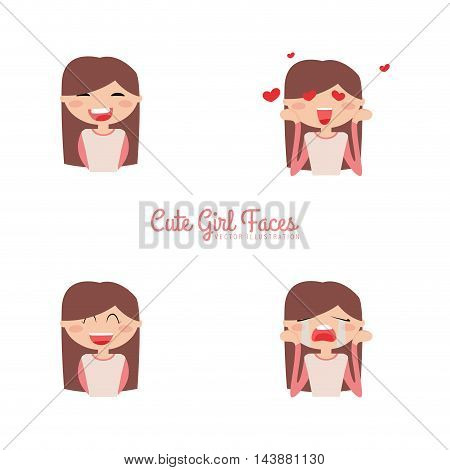 Cute girls with a particular expression faces on a white background