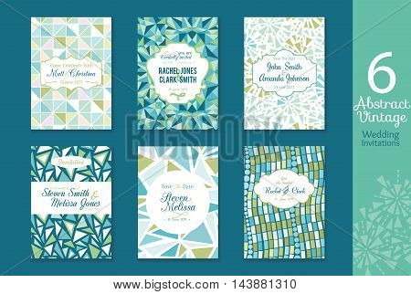Six Abstract Vintage Wedding Invitations, Save the date cards set with bride and groom names, text, repeat pattern backgrounds perfect for any event. Green and blue color scheme. Mosaic, geometric style.
