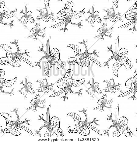 Coloring Seamless Pattern With Dancing Caribbean Parrot. Vector Illustration