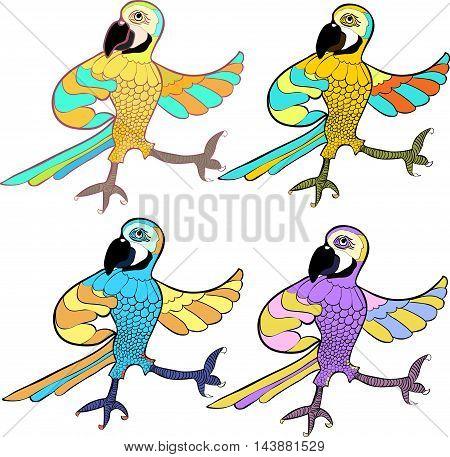 Gold Set With Dancing Fun Caribbean Parrot. Vector Illustration