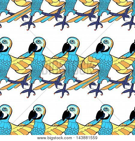Seamless Pattern With Blue Dancing Cheerful Caribbean Parrot. Vector Illustration