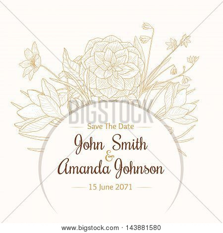 Vector Vintage Light Brown Beige Border Frame Floral Drawing Wedding Invitation Card With Stylish Flowers and Text In Classic Retro Design. Perfect for invinations, packaging, announcements, menu, scrapbooking.