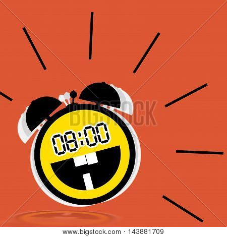 Clock - Illustration with the image of a cheerful alarm clock in the form of a emoticon smile on a orange background.