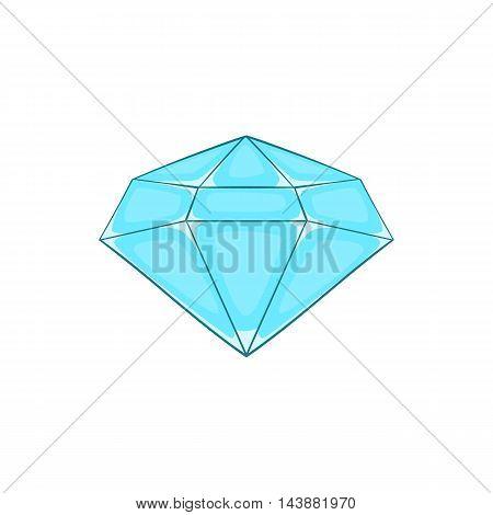 Polished diamond icon in cartoon style isolated on white background. Jewelry symbol
