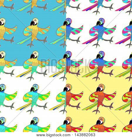 Set Seamless Pattern With Gold Merry Dancing Fun Caribbean Parrot. Vector Illustration